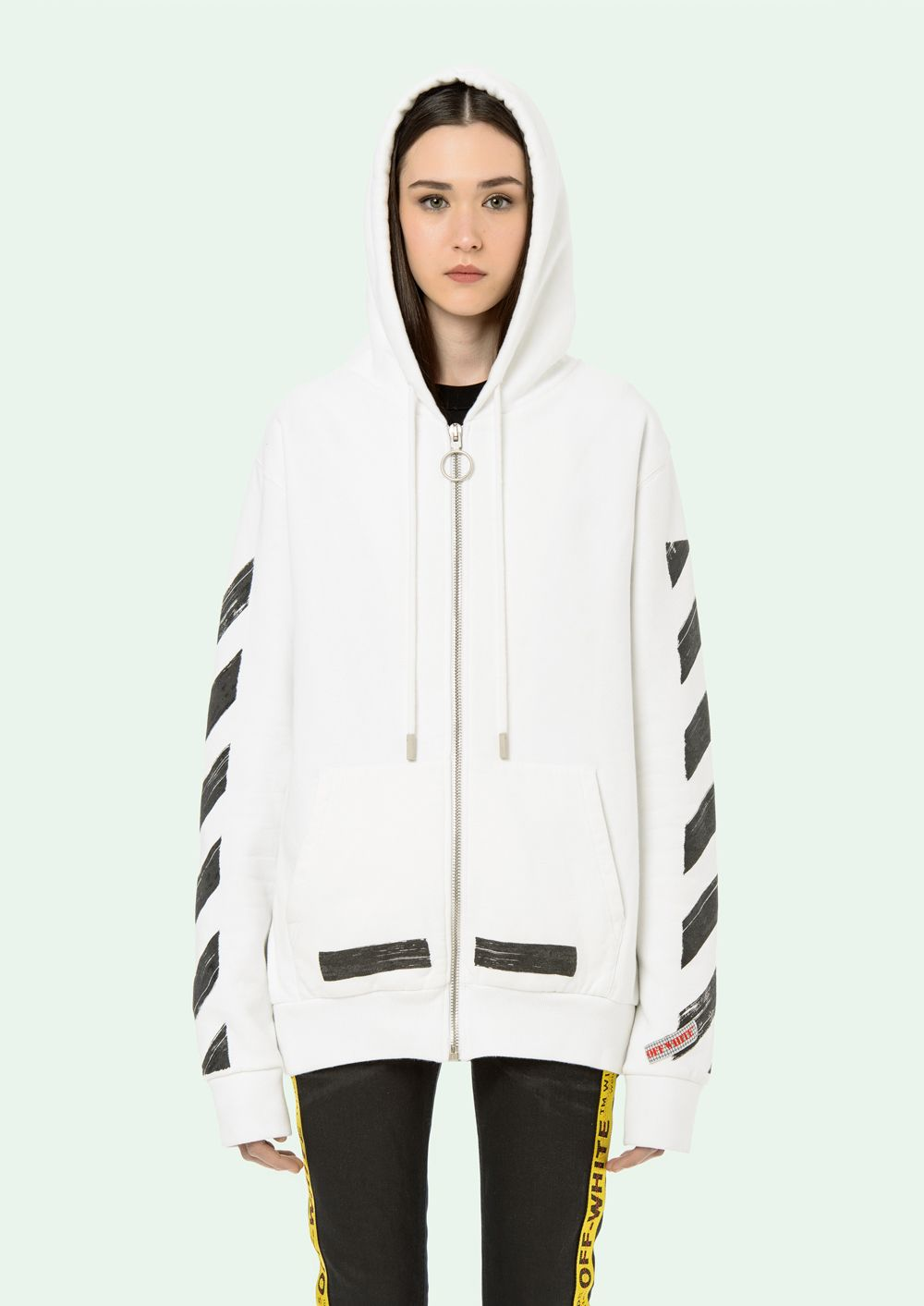 2a585287 OFF WHITE - Diag Brushed Zip Hoodie White Black | Inspo | Off white ...