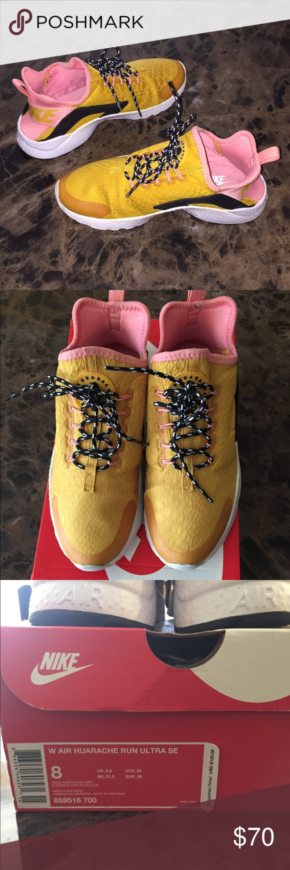 12a18cc34ba9 Women s Huarache Run Ultra SE size 8 Great Condition‼ Gold Dart  Pink. Worn  only once. Super Comfy. Nike Shoes Sneakers