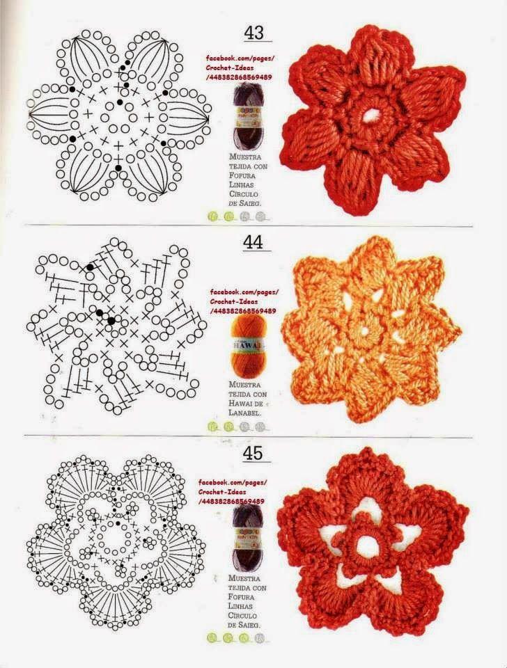 Como hacer módulos y flores en crochet | Flores Ganchillo ...
