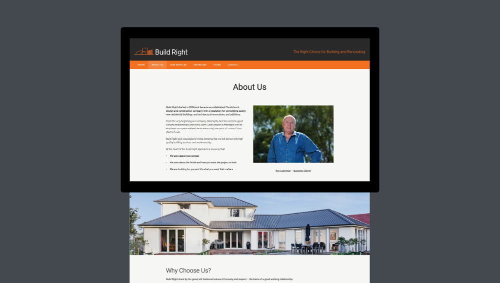 Build Right Website Design Graphic Design By Robertson Creative Christchurch New Zealand Website Design Site Design Construction Company