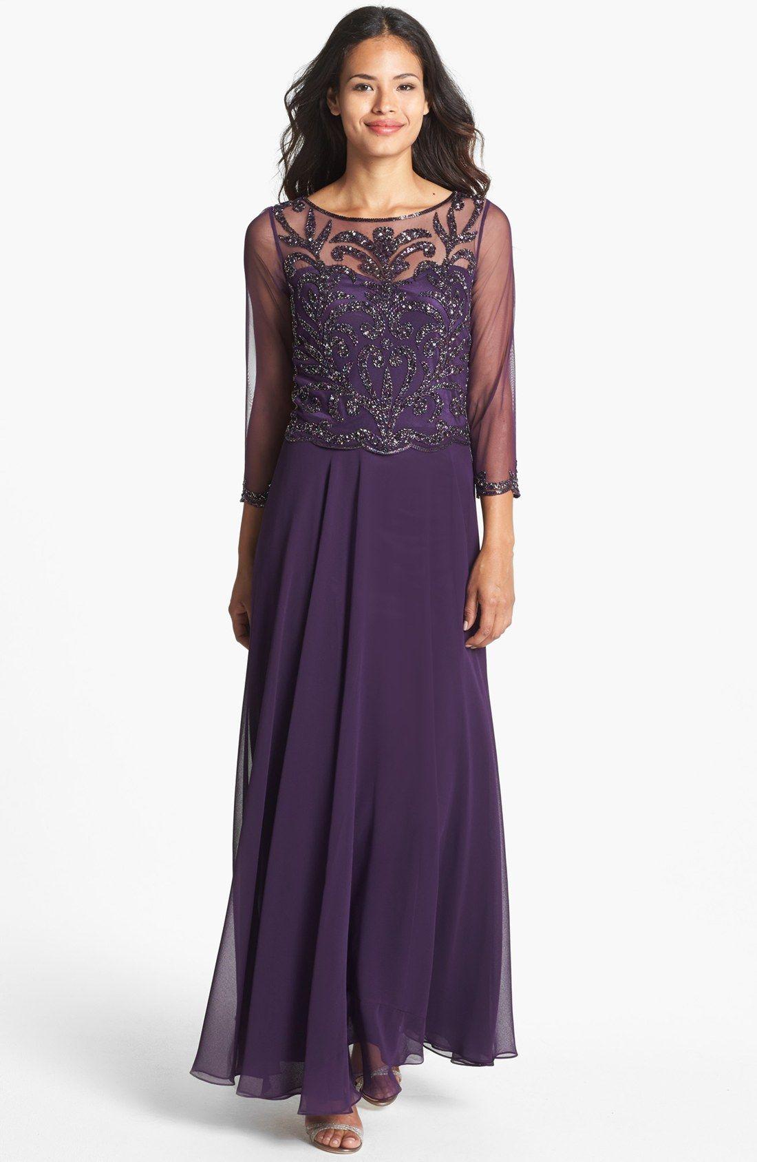 J Kara Beaded Bodice Mesh Gown | Mother of the Bride Dresses | Pinterest