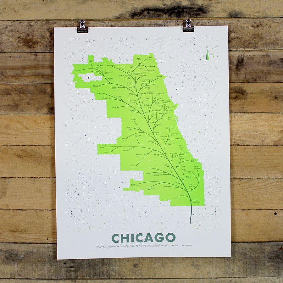 Chicago Leaf Map Poster Map Poster Map Poster