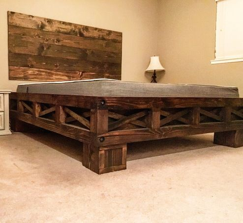 Farmhouse California King DIY bed by RYOBI Nation Member. This is such an awesome design!