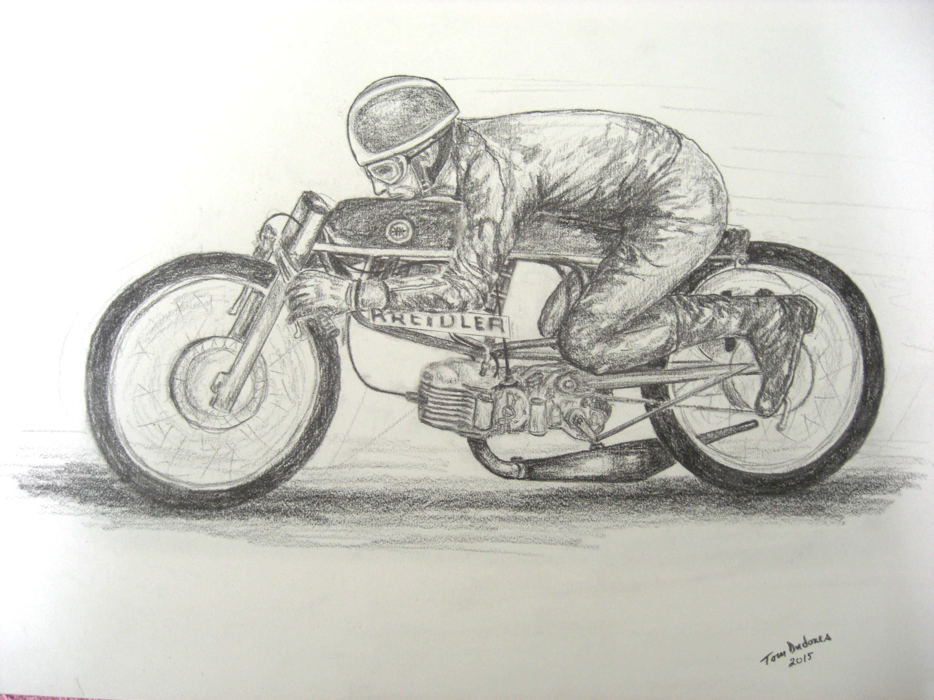 1-Aalt Toersen, 50cc Kreidler - record attempt, 1968, Elvington RAF, UK.14x17, graphite pencil, completed march 10, 2015.