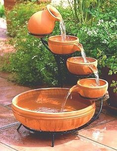 I positive love hearing water rippling....(4 Tier Single Cascade Solar Powered Water Fountains)  We have a fountain right outside our patio door.  Love it !