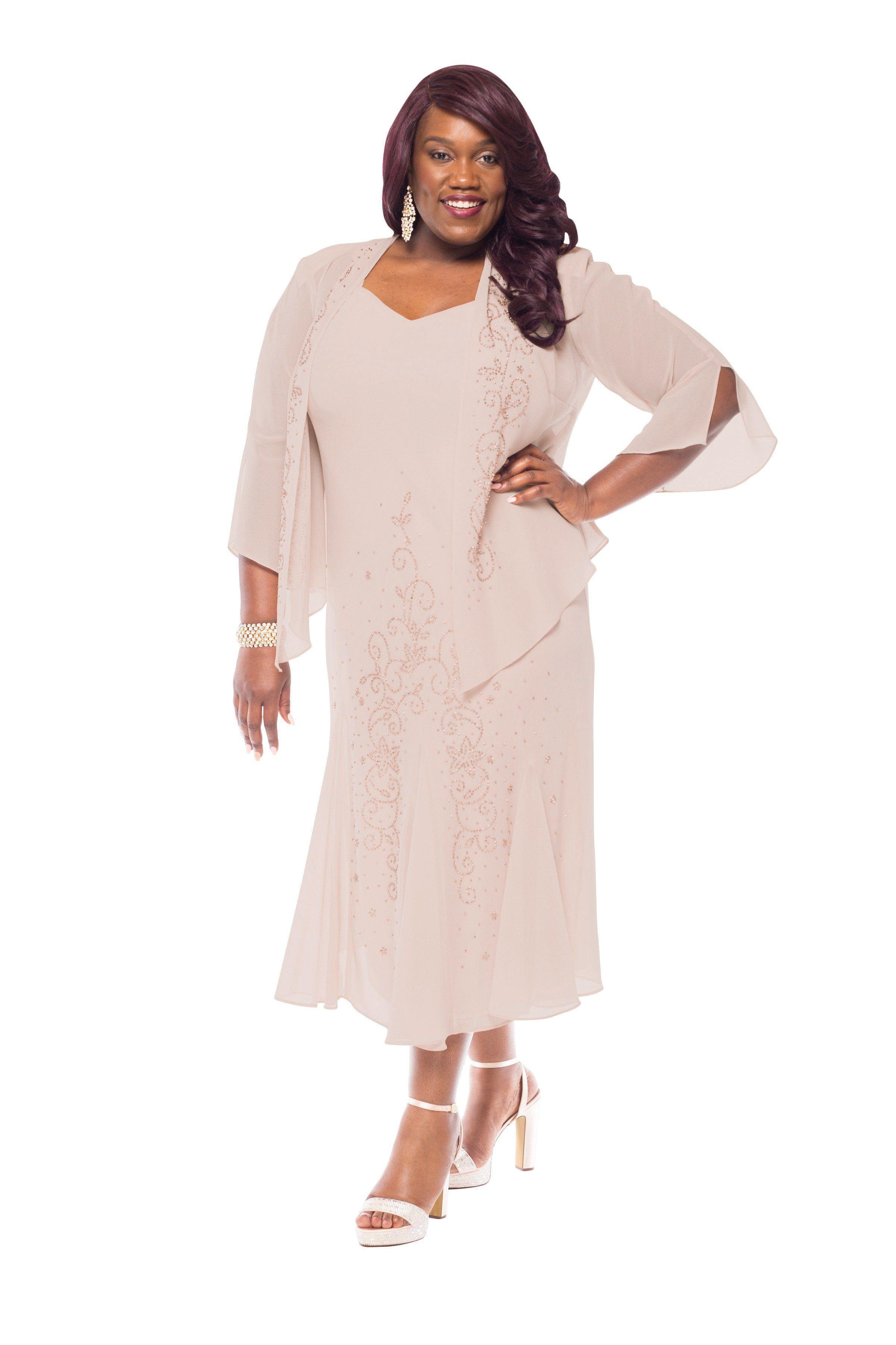 Women/'s Plus Size Beaded Jacket Dress Mother of the Bride Dresses Tea Length