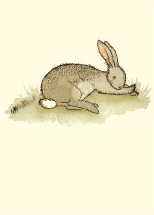 M24 A CONTENTED BUNNY -   A Two Bad Mice card by Anita Jeram