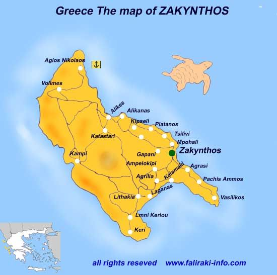 Zante is a Greek island which covers an area of 410 km2 158 sq mi