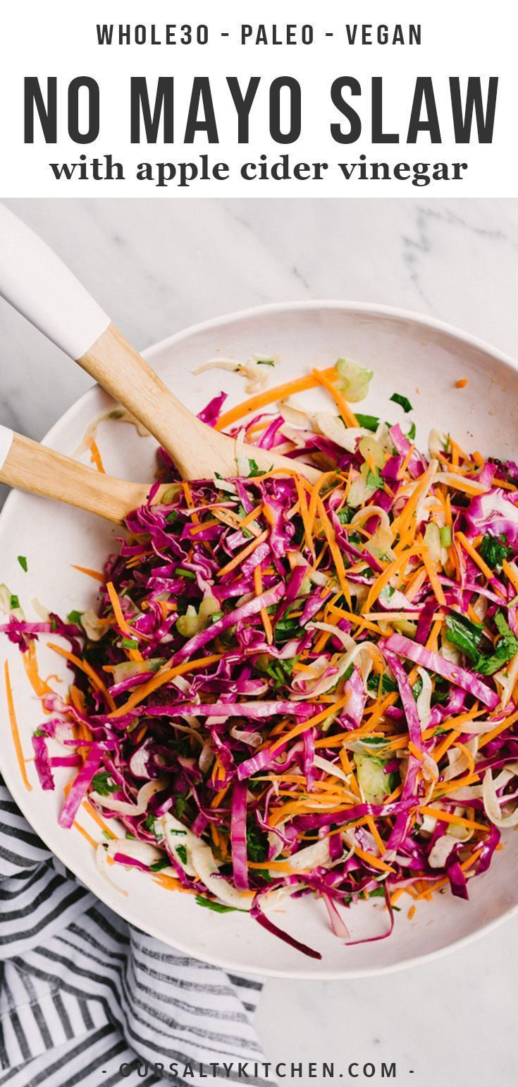 You Need This No Mayo Paleo Coleslaw Recipe For All Your Summer Potluck Plans It S Seasoned With Apple Cider Vinegar Coleslaw Vinegar Coleslaw Coleslaw Recipe