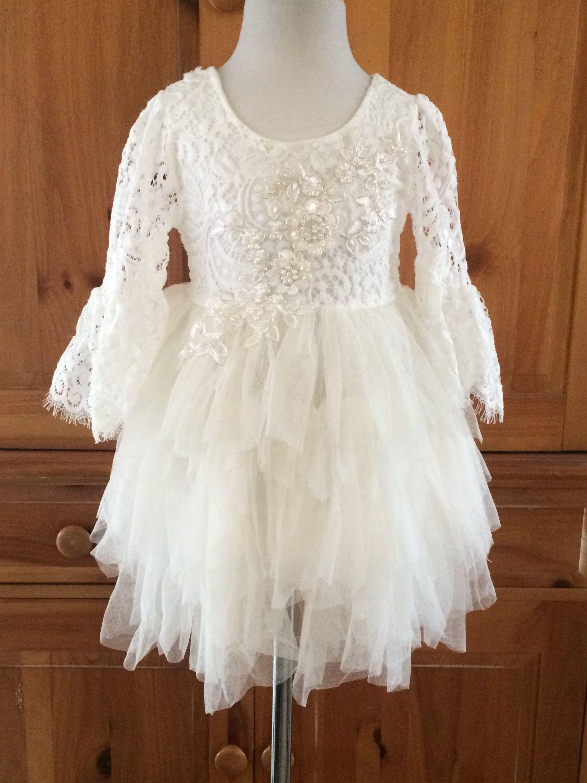 9efa6beb7847 Ivory flower girl dress White lace dress Ivory tutu dress Ivory tulle dress  Birthday dress Bohemian Baby girl Ball gown Beach wedding Chic