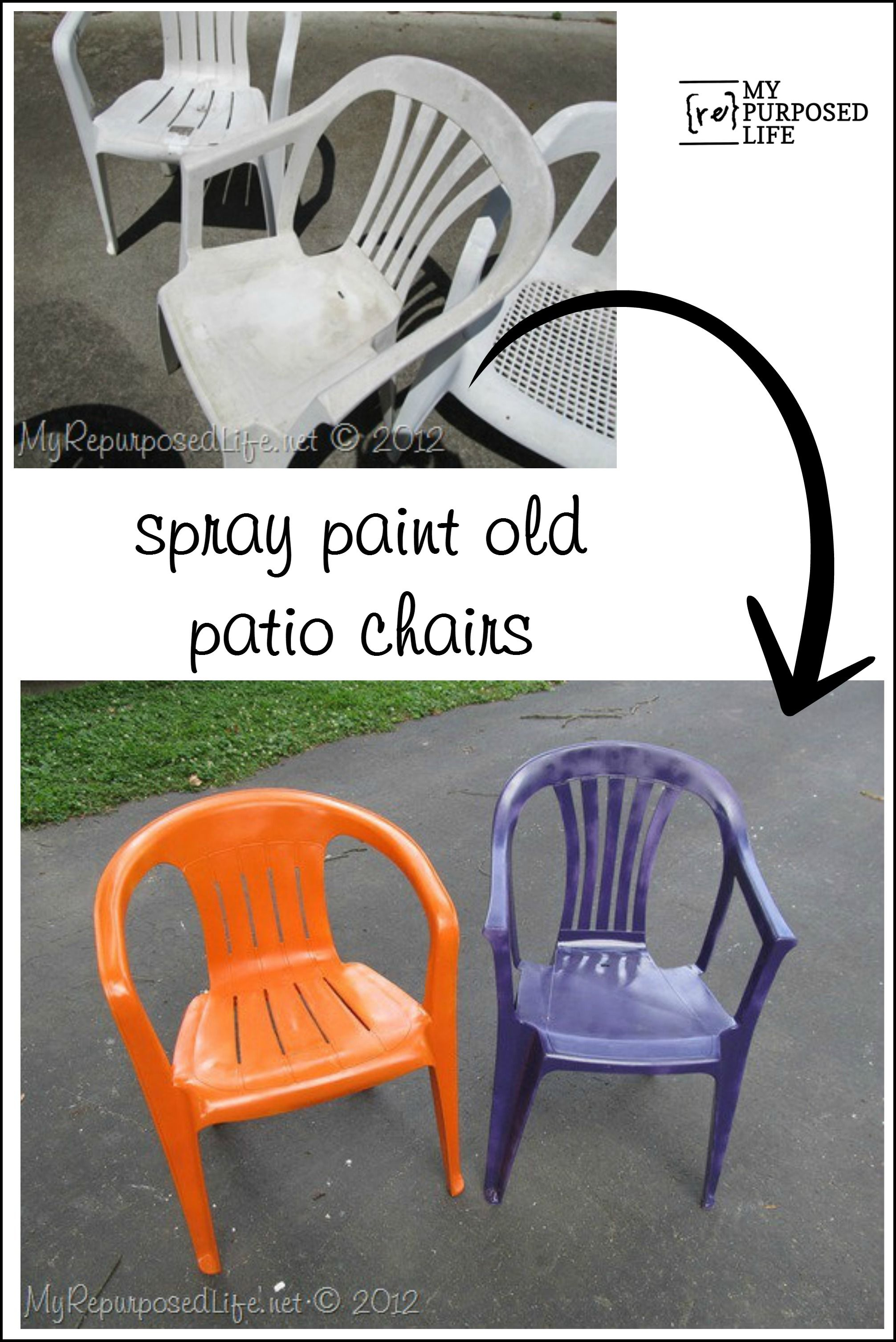 How To Spray Paint Plastic Chairs You Know Those Old White Chairs You Have They Are Pitte Painting Plastic Chairs Painting Plastic Furniture Painting Plastic