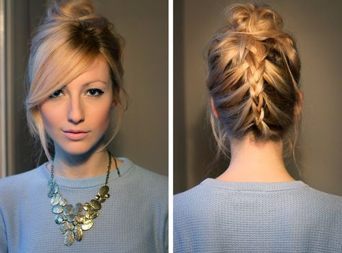 Braidedupdo With Side Swept Bangs H A I R Pinterest So Cool And Solves