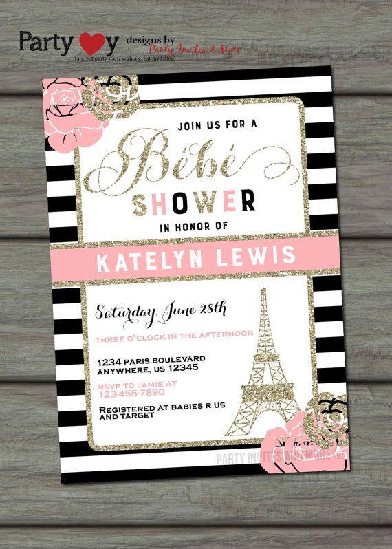 Paris Baby Shower Invitation French Chic Eiffel Tower