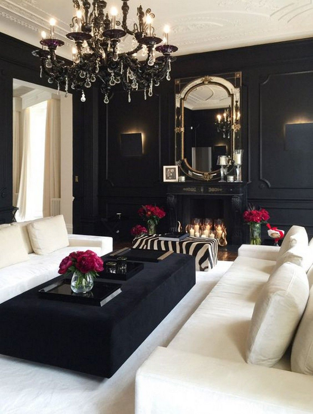 The dark interiors with contrast flooring go hand in elegant set of proper vintage styled chandeliers also adorable contemporary living room design ideas rh pinterest