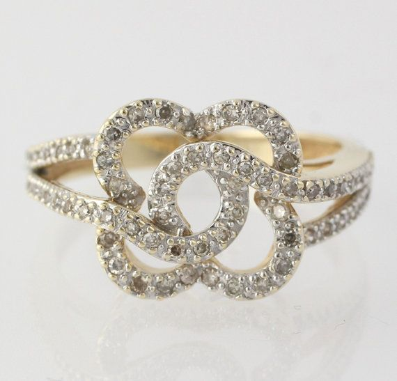 Diamond Floral Cocktail Ring - 14k Yellow & White Gold Genuine 1/3ctw