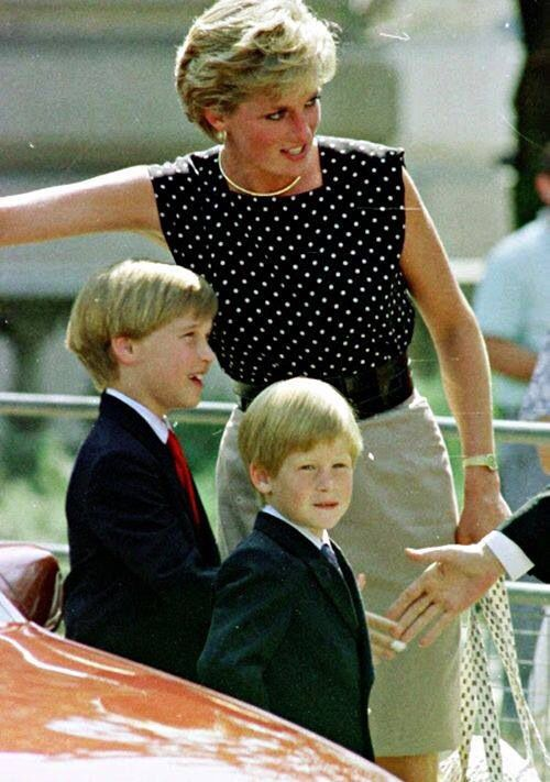 ✿⊱╮August 9, 1990: Princess Diana and Prince William and Prince Harry on a visit to the French-Canadian 'Le Cirque du Soleil'.