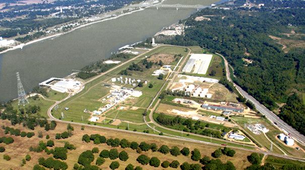 Aerial view of the industrial complex located along the Mississippi River at the Natchez-Adams County Port