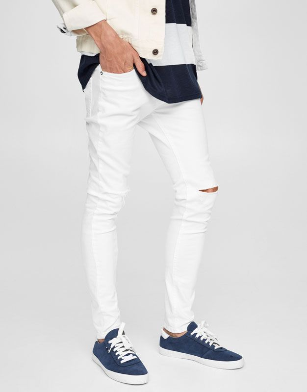 Jeans Superskinny Fit Roto Rodilla Jeans Ropa Hombre Pull Bear Colombia Super Skinny Jeans Men White Jeans Men Super Skinny Jeans