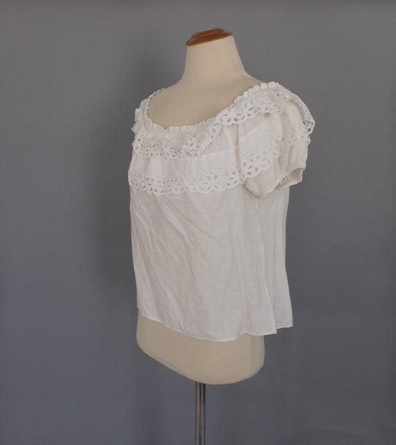 Vintage 1940s Sailor Cut Off White Cotton Top
