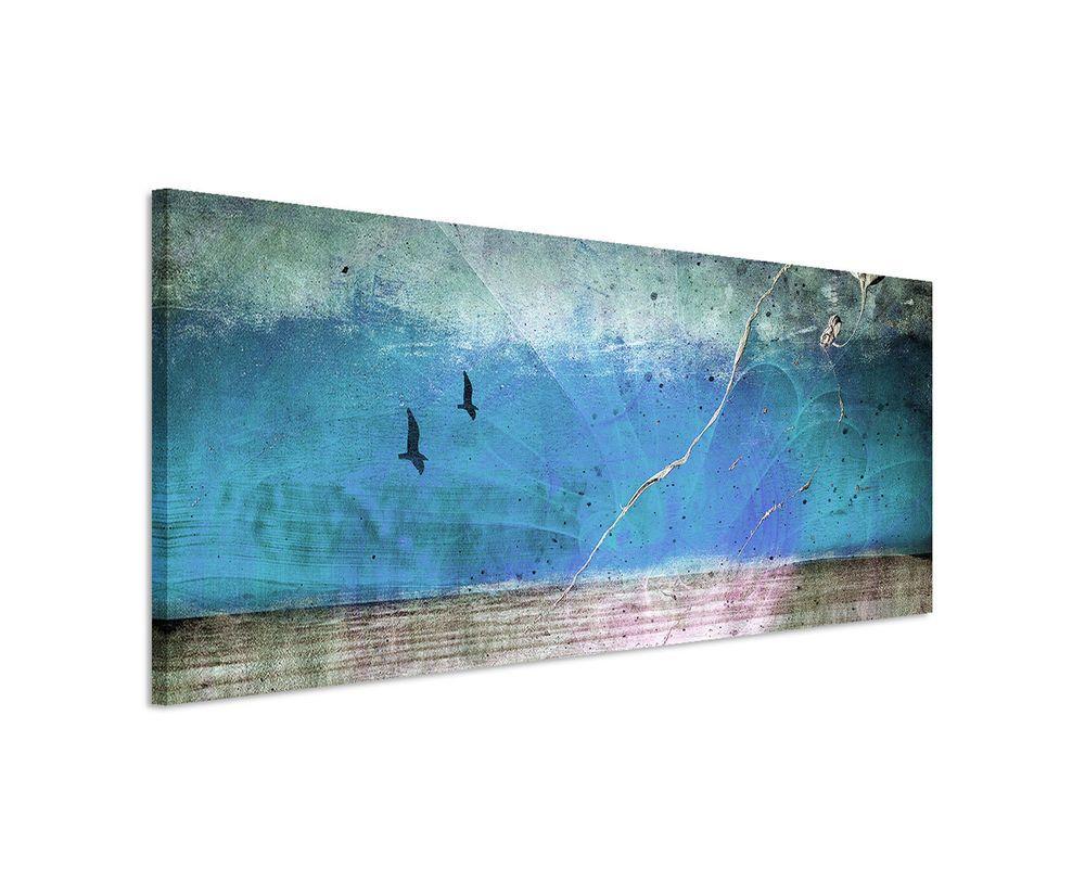 150x50cm Panoramabild Paul Sinus Art Abstrakt Blau Rot Braun Grau Wohnzimmer  | Möbel U0026 Wohnen,