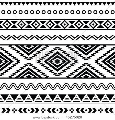 1e100570eb908 Tribal seamless pattern, aztec black and white background | Color ...