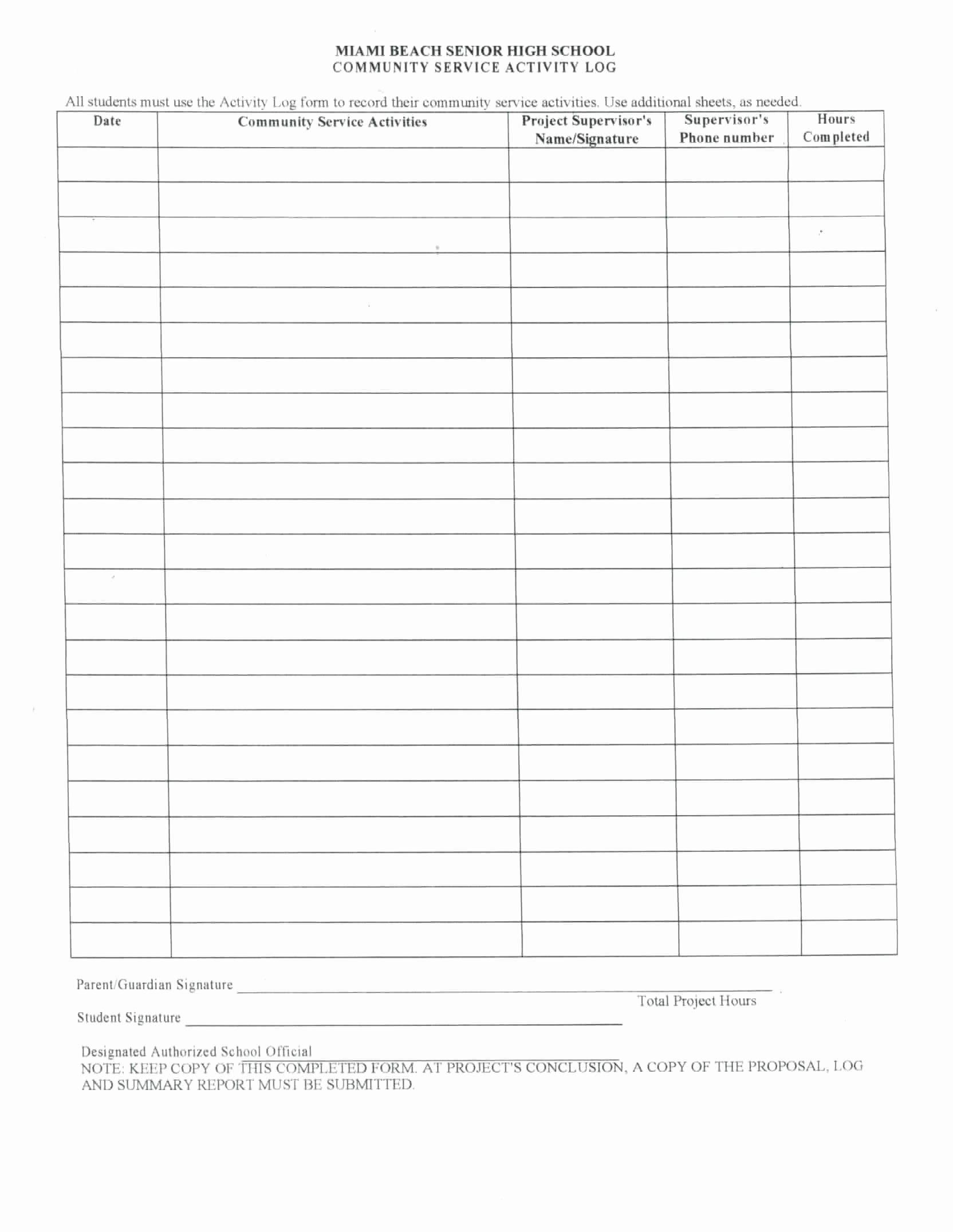Volunteer Hours Form Template Unique Munity Service Log Sheet To Pin On Pinterest Community Service Hours Volunteer Hours Community Service