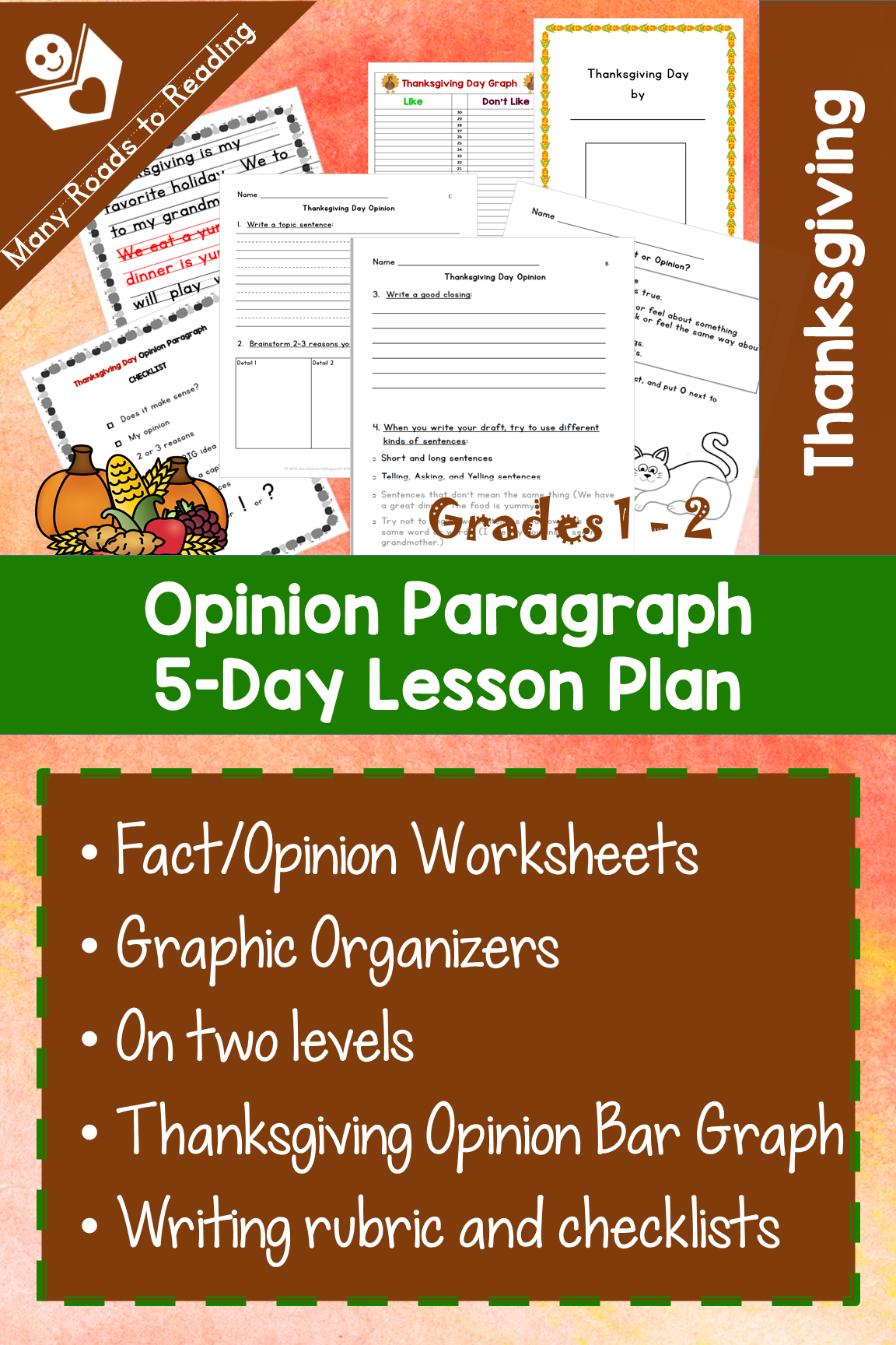 Thanksgiving Opinion Paragraph 5 Day Lesson Plan Grades 1
