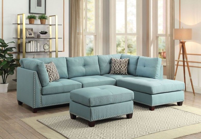 Laurissa Light Teal Linen Sectional Sofa With Ottoman Teal