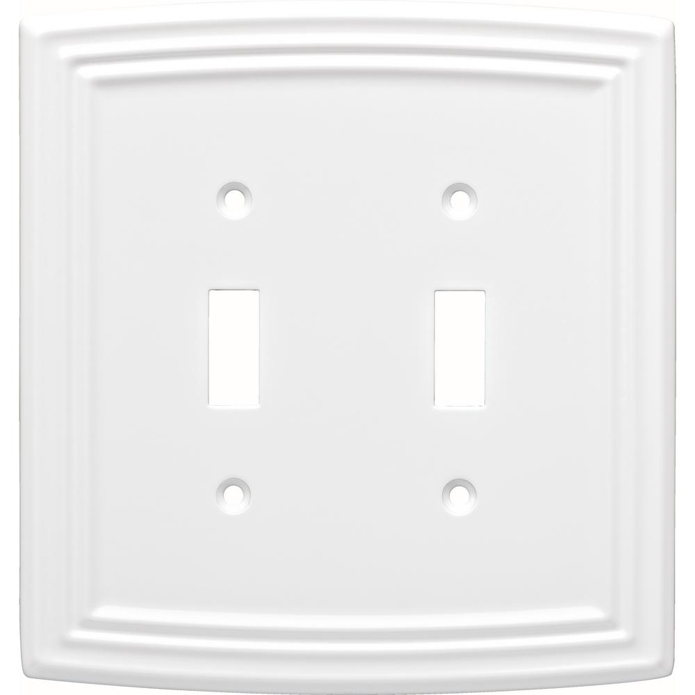 Liberty White 2 Gang Toggle Wall Plate 1 Pack W36399 Pw C The Home Depot Decorative Light Switch Covers Plates On Wall Light Switch Covers
