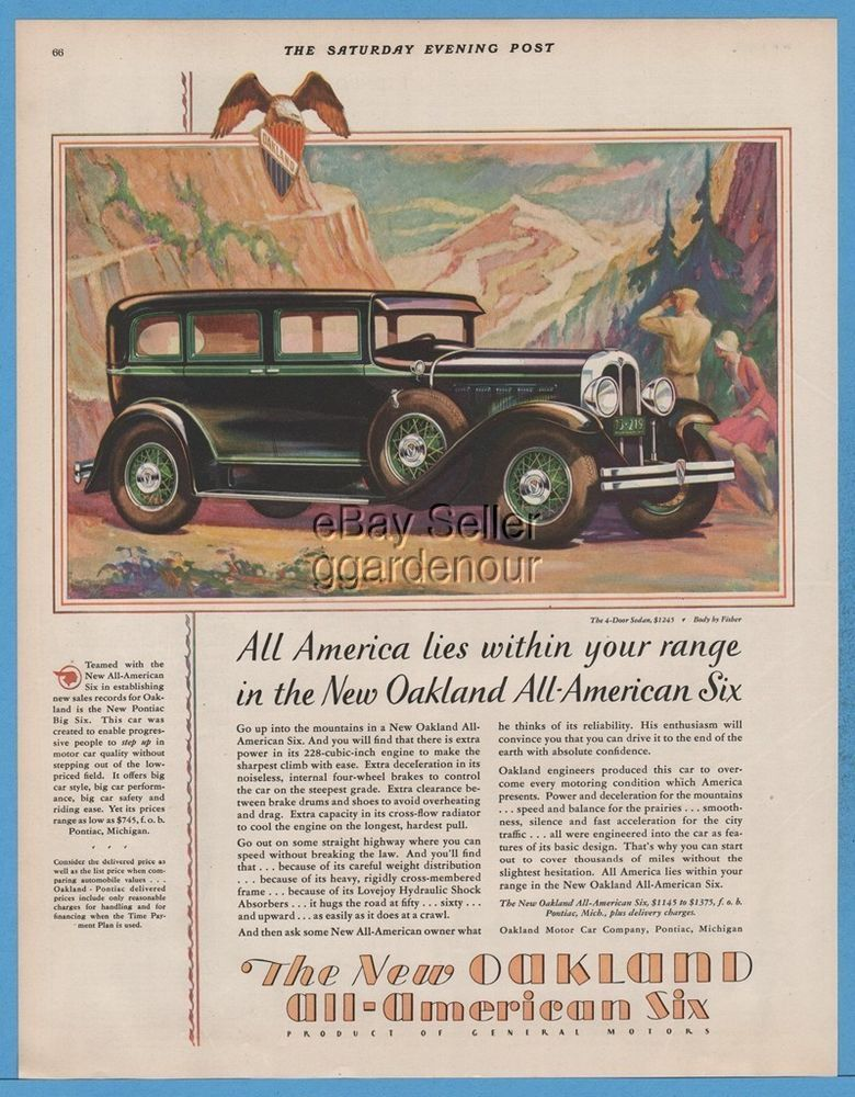 1929 Oakland Motor Car Co All American Six Sedan Pontiac MI ...