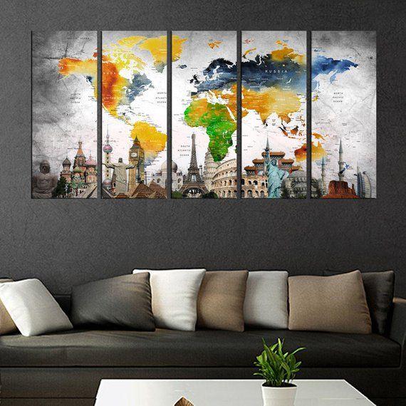 World Map Framed Wall Art.Large Abstract Wall Art Push Pin World Map Canvas Print Adventure
