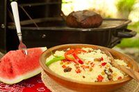 Texas Watermelon Couscous with Beef and Harissa Sauce