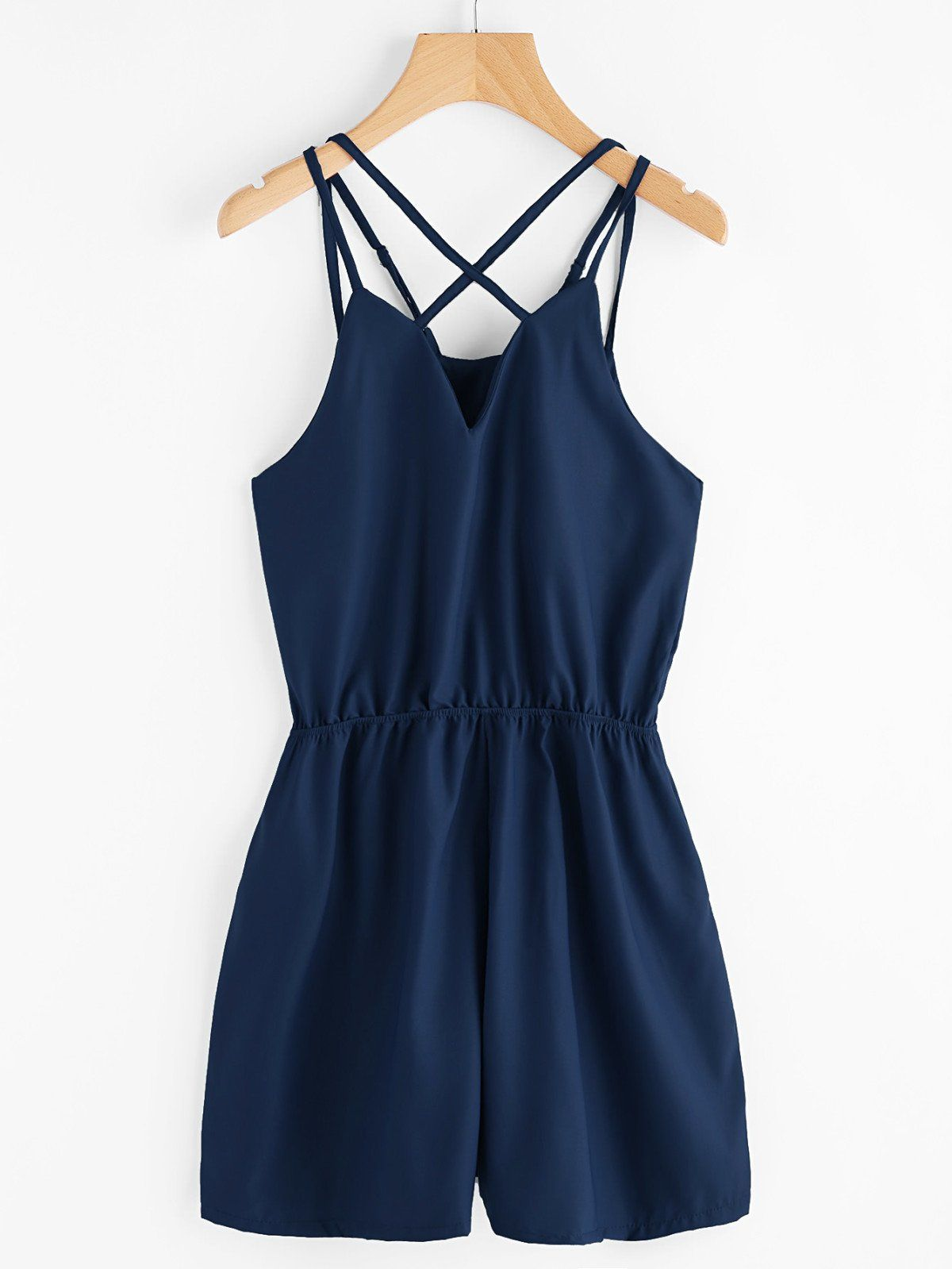 Sleeveless Jumpsuits. Jumpsuits Decorated with Criss Cross. Designed with Spaghetti Strap. Loose fit. Plain design. Trend of Summer-2018. Designed in Navy. Fabric has no stretch.