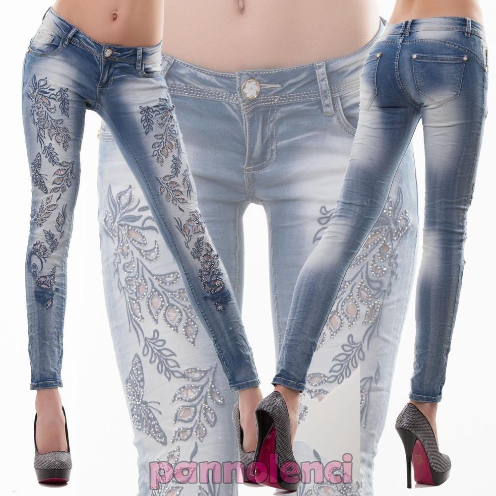 Pantaloni Jeans Skinny Jeans Pantaloni con ricamo e strass