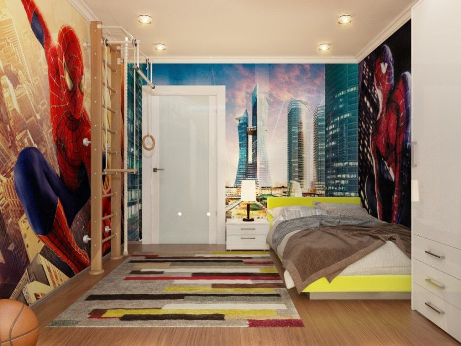 Lovely Cute And Colorful Little Boy Bedroom Ideas: Spiderman Down Lit Boys Room ~  Kids Bedroom