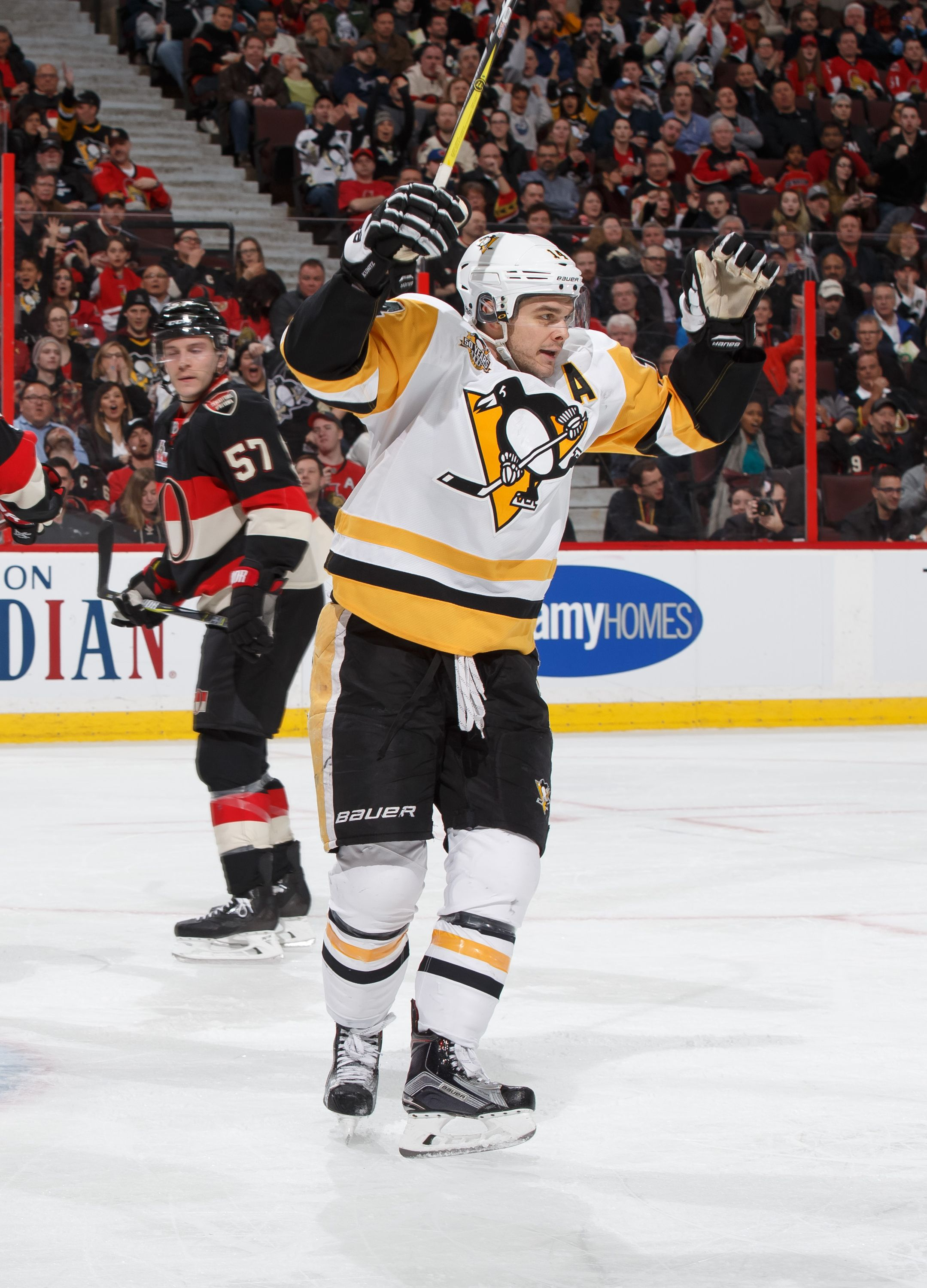March 2017 at Ottawa: Nick Bonino scored the lone goal for Pittsburgh as  the fell in the shootout. Final Score, Senators (SO).