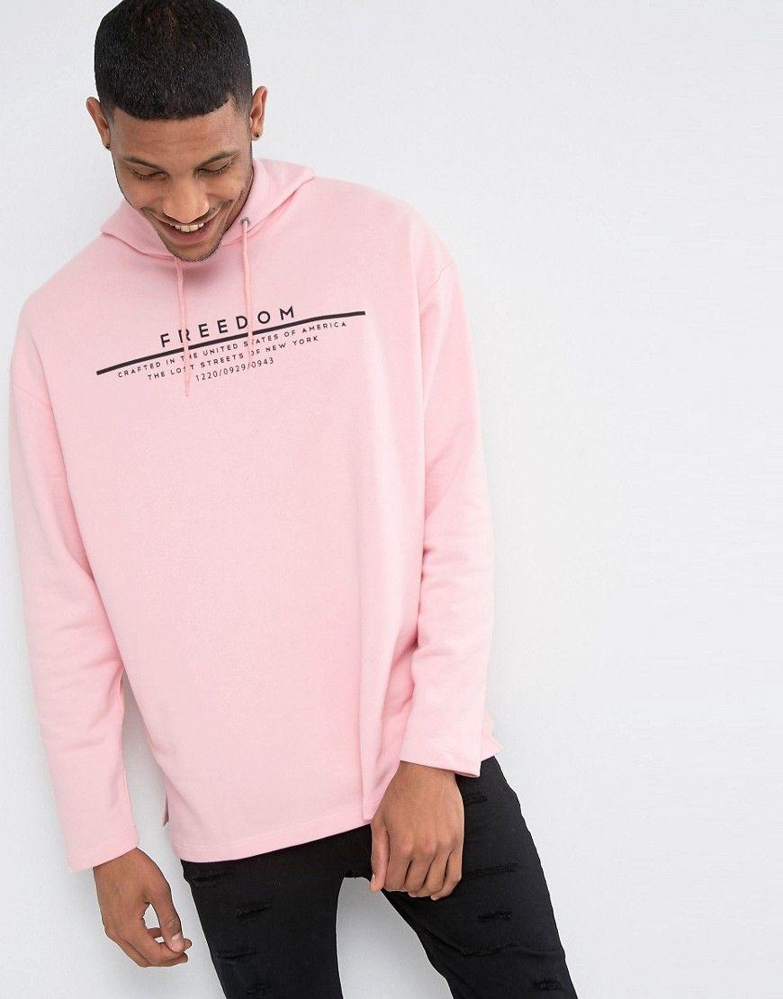 Image 2 Of Asos Oversized Hoodie With Freedom Print In Pink Hoodie Outfit Men Hoodie Fashion Mens Sweatshirts Hoodie [ 1110 x 870 Pixel ]