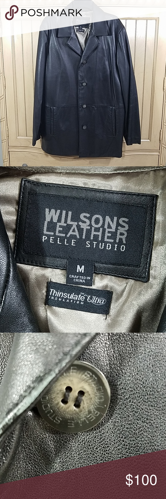 Wilsons Leather/Pelle Studio w/Thinsulate, sz M Wilsons