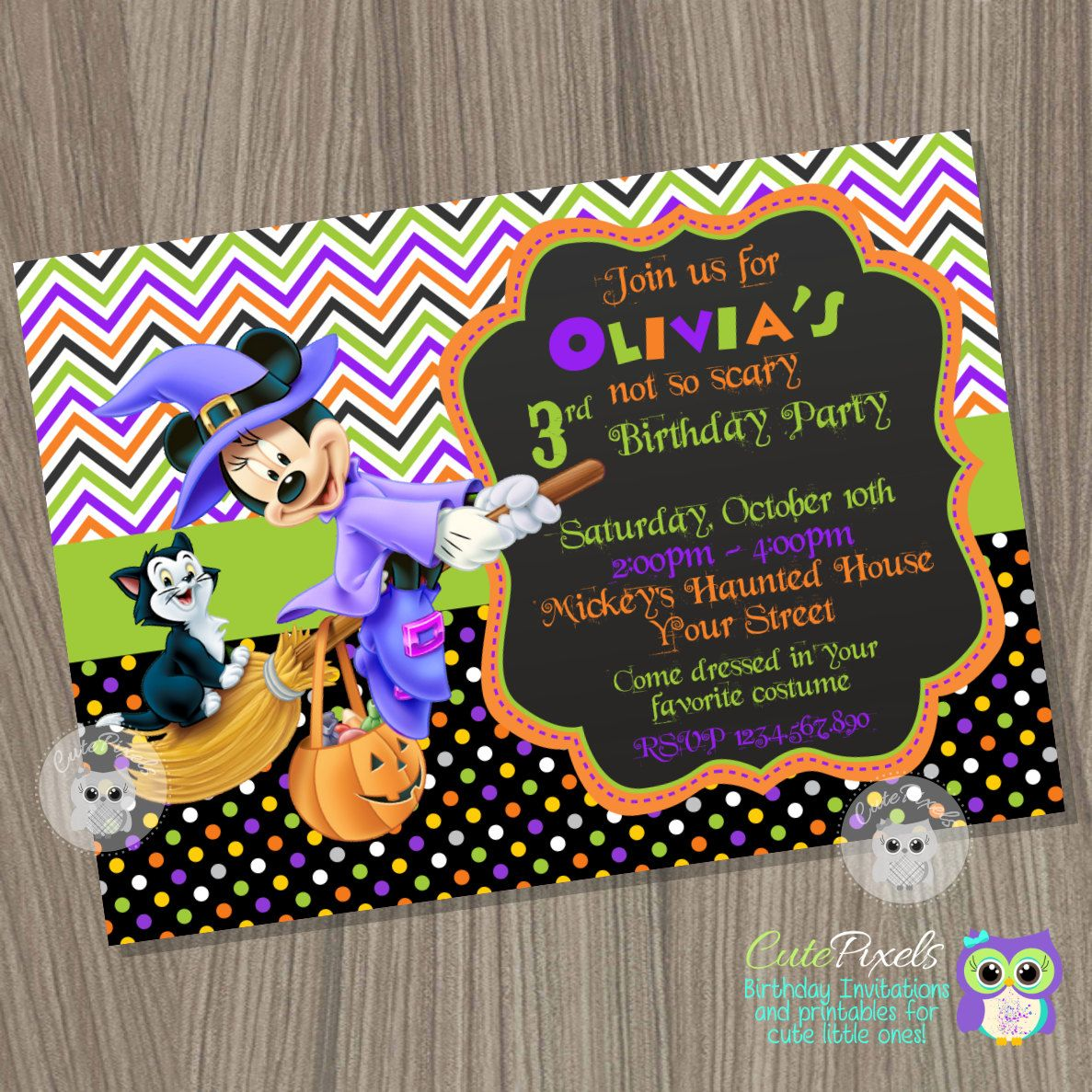 Minnie Mouse Halloween Invitation, Halloween Invitation, Minnie ...