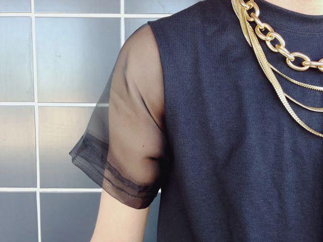 Add organza sleeves to a plain t-shirt