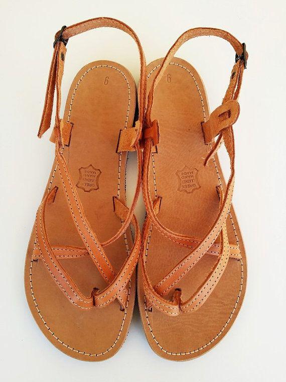 58f81dd31 Brown Leather Women Sandals Greek Handmade By Leatherhood ...