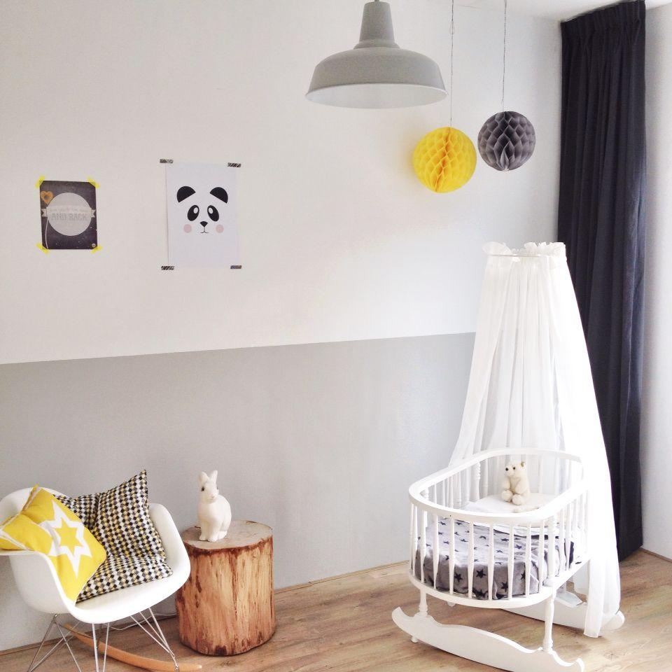 babykamer grijs wit geel. baby room grey white yellow. #nursery, Deco ideeën