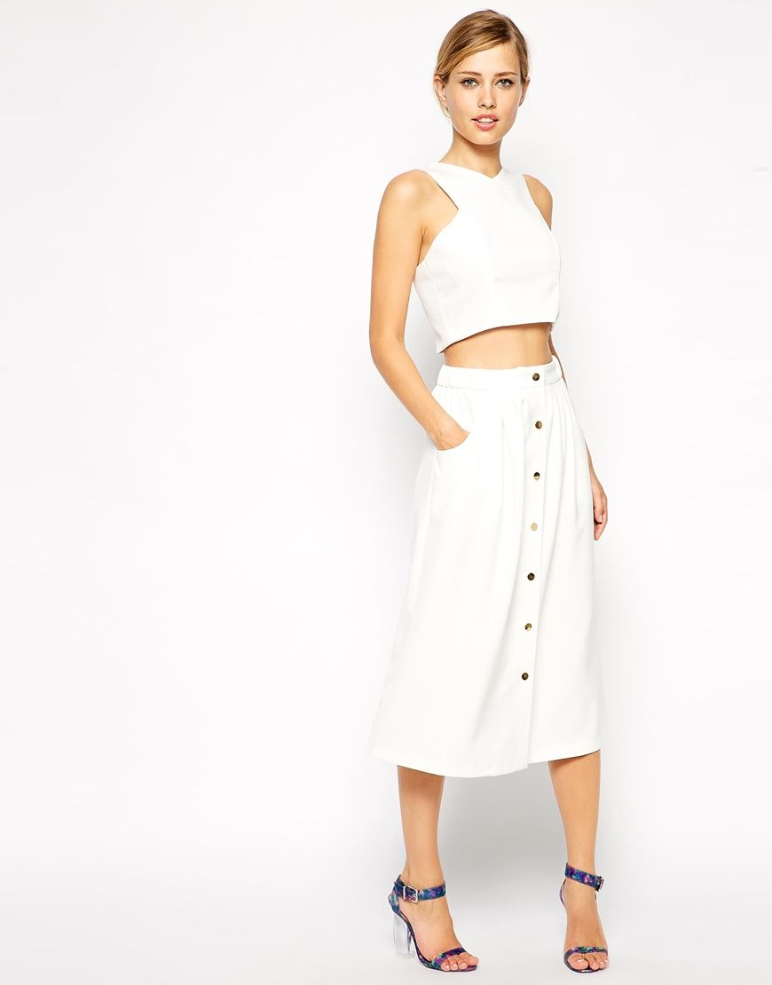 ASOS Midi Skirt With Button Detail in white As seen on blogger ...