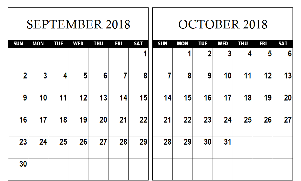 Calendar 2018 September October 2018 September October 2018 Calendar