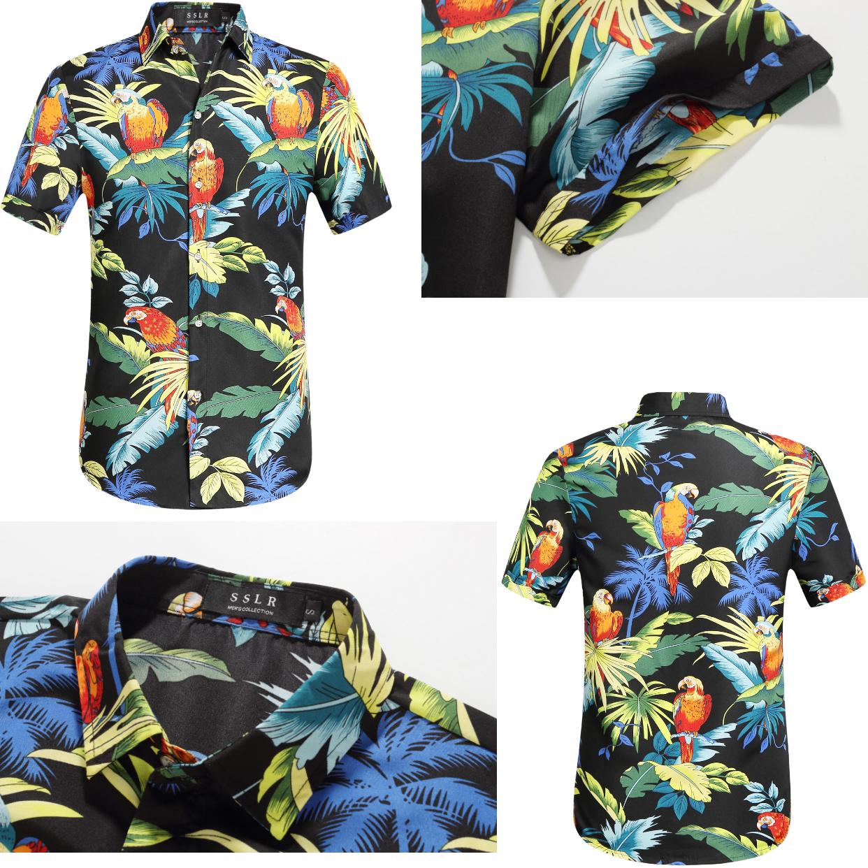 208a7dbc SSLR Men's Parrots Leaves Button Down Casual Short Sleeve Hawaiian Shirt #hawaiian  shirt #parrots and leaves