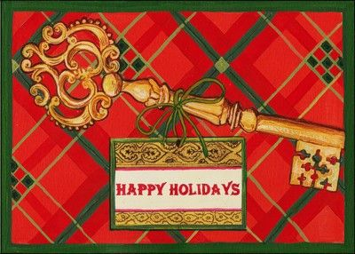 Holiday key glossy white 655 real estate business real estate unlock the potential with clients through the christmas card for real estate business that displays an reheart Image collections