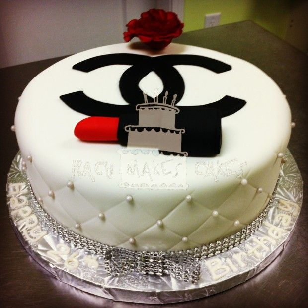 Chanel Cake Ideas: Chanel Cake With Fondant Lipstick And Gumpaste Rose
