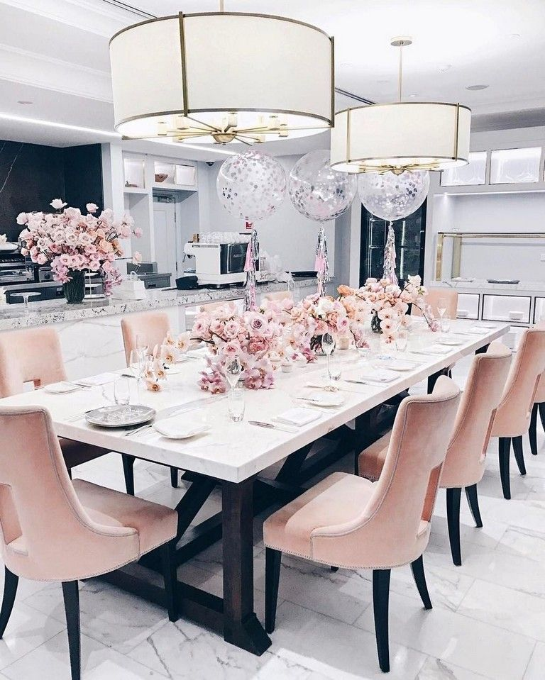 35 Lovely Dining Room Designs That Follow The Latest Trends Diningroomideas Diningroomdecoratin Pink Dining Rooms Dining Room Table Decor Elegant Dining Room