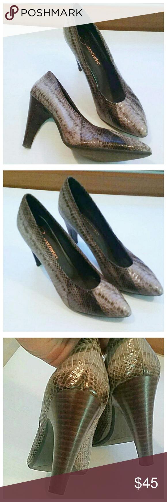 B. Makowsky snakeskin pattern heels In brand new condition. Genuine leather. b. makowsky Shoes Heels