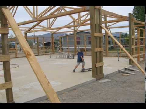 How to Build a Pole Barn Pt 5 Setting Trusses YouTube – Stick Built Garage Plans